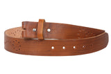 "Snap On 1 1/2"" Soft Hand Genuine Leather Perforated Detail Belt Strap"