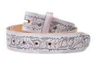 Snap On Embossed Birds and Leaves Genuine Leather Belt Strap