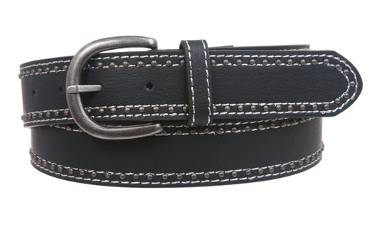 Womens Stitching-Edged Rivet leatherette Belt