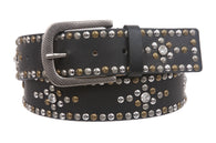 Womens Multi-rivet Studded Rhinestone Leather Belt