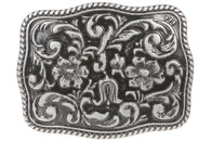 Western Flower Engraved Belt Buckle