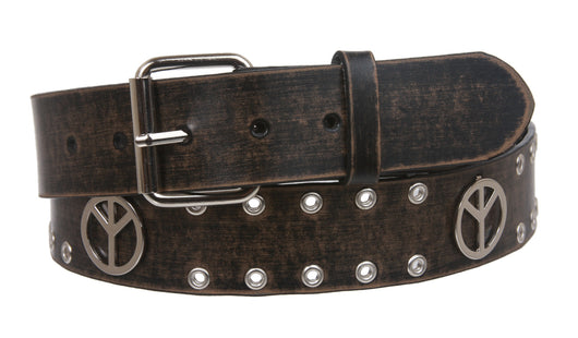 Snap On Peace Sign Grommets Vintage Leather Belt