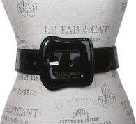 Ladies Western Buckle High Waist Wide Patent Fashion Plain Leather Belt