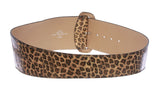 "Ladies 3 1/2"" Wide High Waist Leopard Print Tapered Faux Patent Leather Belt"