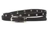 "3/8"" (10 mm) Rhinestone Skinny Leather Belt"