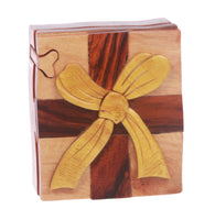 Handcrafted Wooden Gift Box Shape Secret Jewelry Puzzle Box