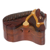 Handcrafted Wooden Animal Shape Secret Jewelry Puzzle Box - Horse