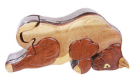 Handcrafted Wooden Bull Shape Secret Jewelry Puzzle Box - Bull