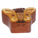 Handcrafted Wooden Animal Shape Secret Jewelry Puzzle Box - Butterfly