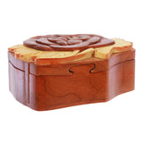 Handcrafted Wooden Rose Flower Shape Secret Jewelry Puzzle Box