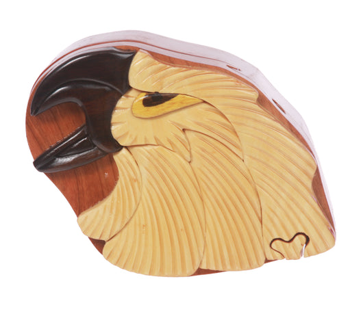 Handcrafted Wooden Animal Shape Secret Jewelry Puzzle Box - Eagle