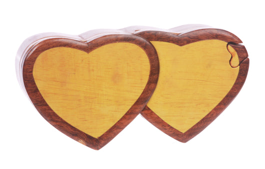 Handcrafted Wooden Double-Heart Shape Secret Jewelry Puzzle Box