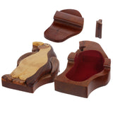 Handcrafted Wooden Animal Shape Secret Jewelry Puzzle Box - Penguin