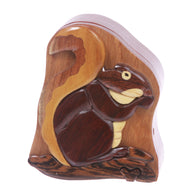 Handmade Wooden Intarsia TRICK SECRET Squirrel Puzzle Box
