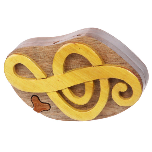 Handcrafted Wooden Music Sign Shape Secret Jewelry Puzzle Box