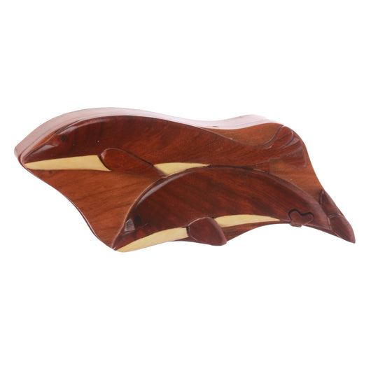 Handcrafted Wooden Animal Shape Secret Jewelry Puzzle Box - Dolphins