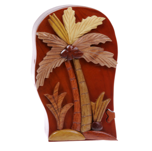 Handcrafted Wooden Secret Jewelry Puzzle Box - Palm Tree