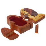 Handcrafted Wooden Animal Shape Secret Jewelry Puzzle Box - Doggy
