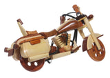 Handcrafted Two Toned Wooden Motorcycle