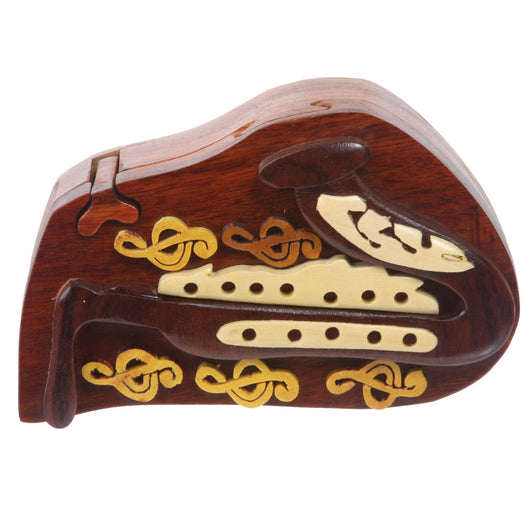 Handcrafted Wooden Musical Instrument Secret Jewelry Puzzle Box - Saxophone