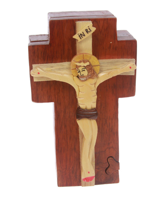Handcrafted Wooden Jesus on a Cross Secret Jewelry Puzzle Box - Jesus on a Cross