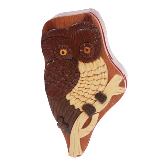 Handcrafted Wooden Animal Shape Secret Jewelry Puzzle Box - Owl