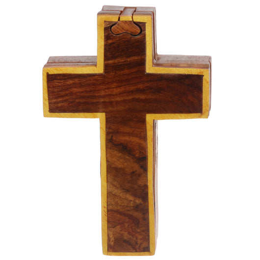 Handcrafted Wooden Cross Shape Secret Jewelry Puzzle Box