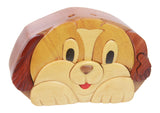 Handcrafted Wooden Dog Shape Secret Jewelry Puzzle Box - Puppy