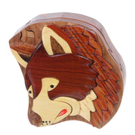 Handcrafted Wooden Secret Jewelry Puzzle Box - Wolf
