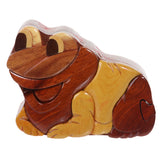 Handcrafted Wooden Animal Shape Secret Jewelry Puzzle Box - Frog