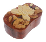 Handcrafted Wooden Rose Flower Shape Secret Jewelry Puzzle Box -Rose Flower