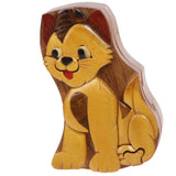 Handcrafted Wooden Yellow Doggy Shape Secret Jewelry Puzzle Box