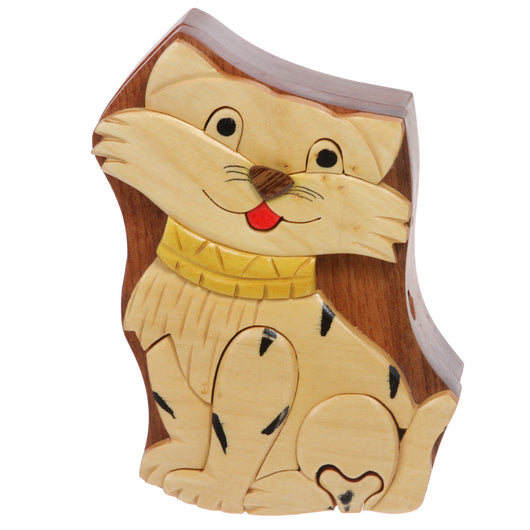 Handcrafted Wooden Animal Shape Secret Jewelry Puzzle Box - Cat