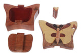 Handcrafted Wooden Butterfly Shape Secret Jewelry Puzzle Box - Butterfly