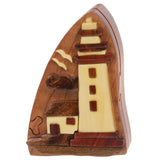 Handcrafted Wooden Lighthouse Shape Secret Jewelry Puzzle Box