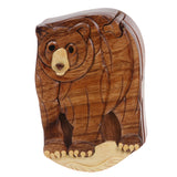 Handcrafted Wooden Animal Shape Secret Jewelry Puzzle Box - Bear