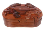Handcrafted Wooden Crab Shape Secret Jewelry Puzzle Box -Crab