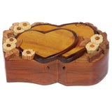 Handcrafted Wooden Double Heart Shape Secret Jewelry Puzzle Box