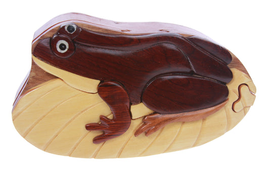 Handcrafted Wooden Frog Shape Secret Jewelry Puzzle Box -Frog