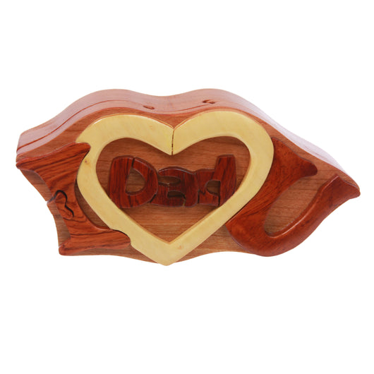 Handmade Wooden Intarsia TRICK SECRET I love you Dad Puzzle Box