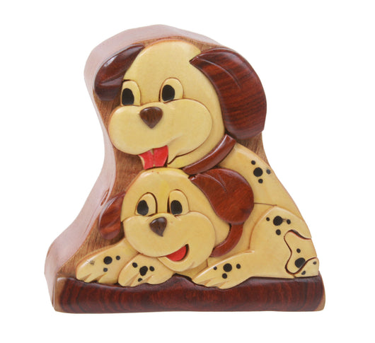 Handcrafted Wooden Dalmatian Shape Secret Jewelry Puzzle Box - Spotted Dog