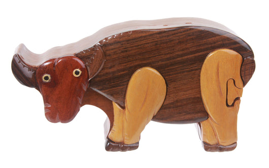 Handcrafted Wooden Ox Shape Secret Jewelry Puzzle Box -  Ox