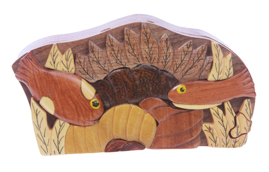 Handcrafted Wooden Fish Shape Secret Jewelry Puzzle Box -Fish