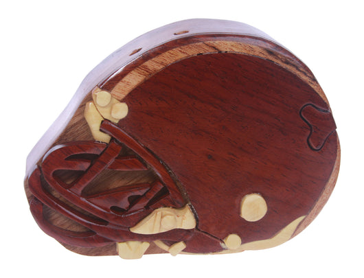 Handcrafted Wooden Football helmet Shape Secret Jewelry Puzzle Box -Football helmet