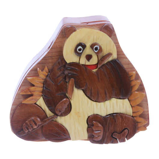 Handcrafted Wooden Animal Shape Secret Jewelry Puzzle Box - Panda
