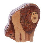 Handcrafted Wooden Lion Shape Secret Jewelry Puzzle Box -Lion