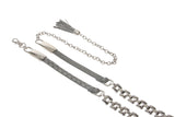 "1/2"" Skinny Faux Alligator Fashion Metal Chain Belt"