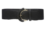 "3"" Wide Semi-Covered High Waist Fashion Stretch Belt"