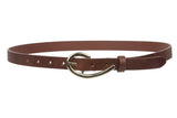 3/4 Inch (19mm) Skinny Faux Leather Fashion Belt Size: One-