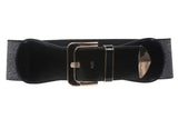 "Women's 3"" Wide High Waist Metallic Faux Leather Stretch Belt"